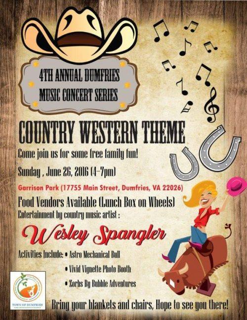 Country singer Wesley Spangler performing in Dumfries, June 26
