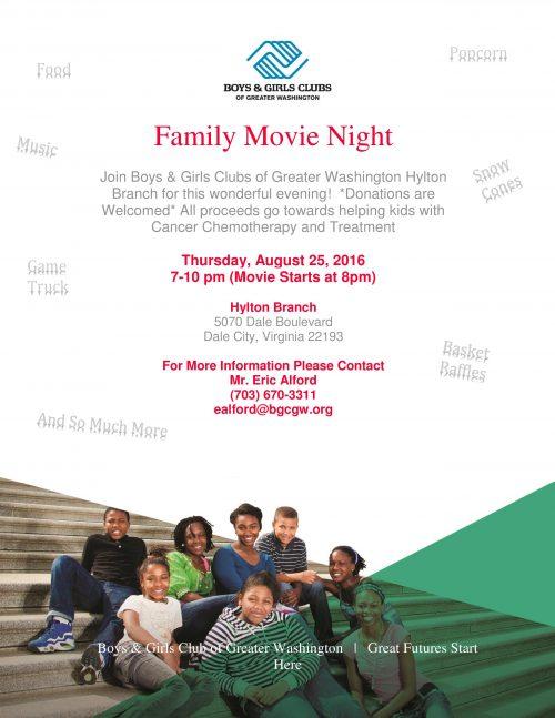 Boys & Girls Club hosting movie night in Dale City tomorrow night