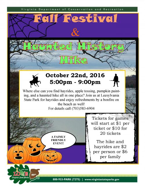 Fall festival and Haunted History Hike at Leesylvania, Oct. 22