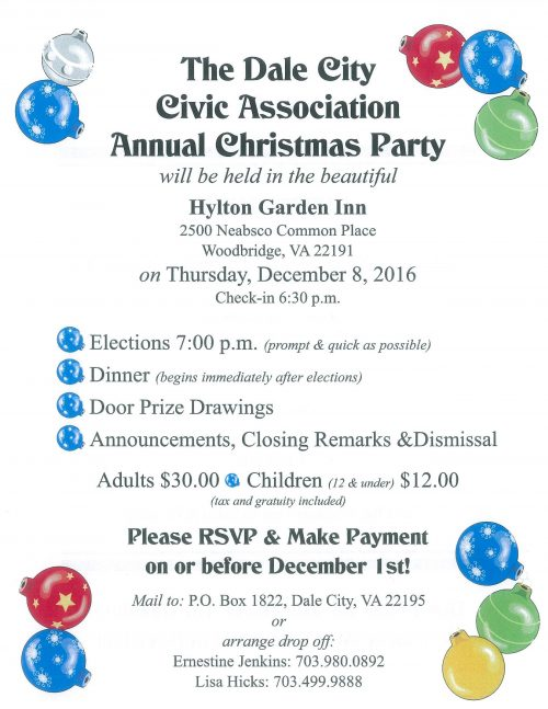 Dale City Civic Association to host Christmas party in Woodbridge, Dec. 8