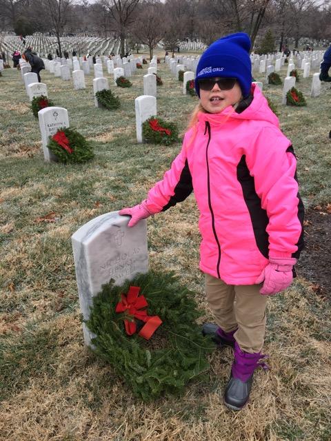 Woodbridge American Heritage Girls troop lays wreaths at Arlington National Cemetery