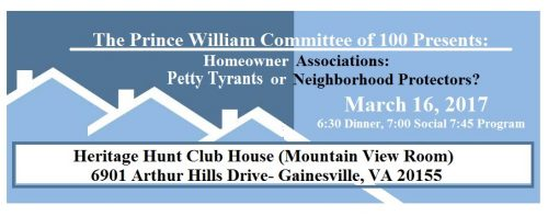 Prince William Committee of 100 hosting program on HOAs, Mar. 16