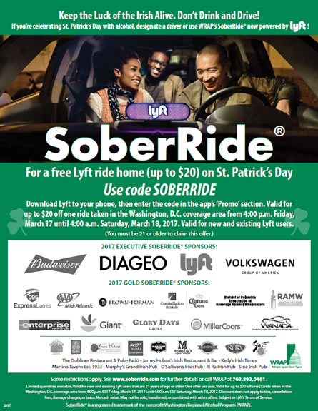 SoberRide offering free Lyft rides home for St. Patrick's Day