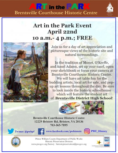 'Art in the Park' at historic Brentsville courthouse, Apr. 22