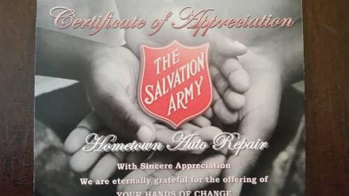 HomeTowne Auto Repair & Tire receives volunteer award from Salvation Army