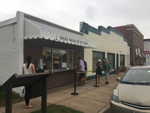 Grab a scoop at Moo Moo Junction's ice cream counter in Manassas