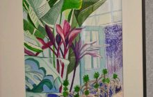 Schoeppel showcasing her artwork at City Hall in Manassas