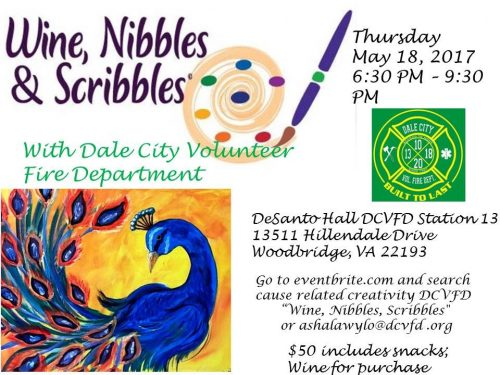 """Wine, Nibbles & Scribbles"" event to benefit Dale City Volunteer Fire Department, May 18"