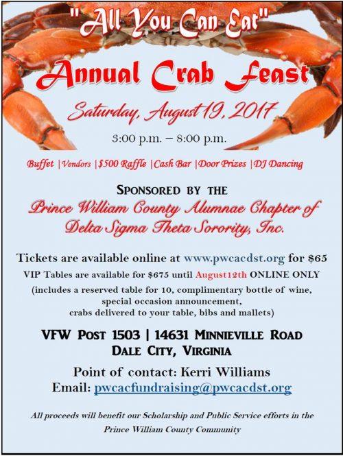 Delta Sigma Theta crab feast fundraiser in Woodbridge, Aug. 19