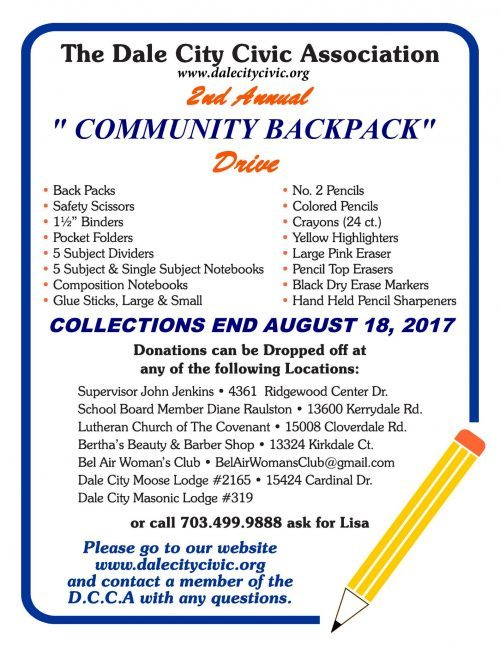 """Dale City Civic Association hosts second """"community backpack"""" drive"""