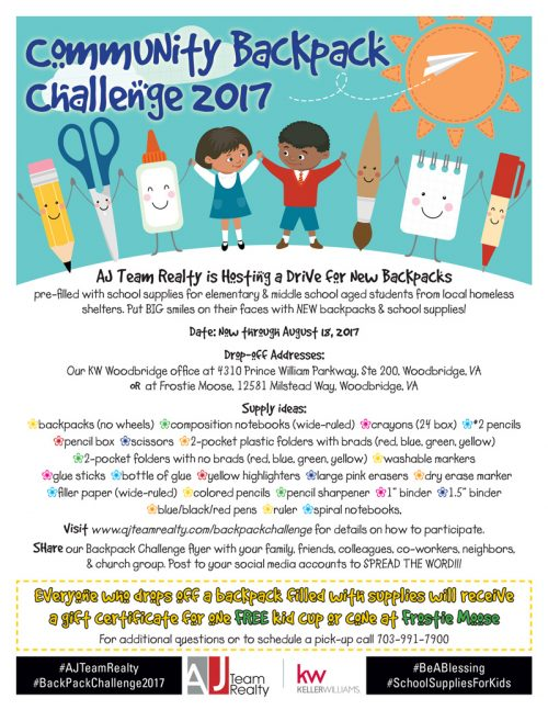 "AJ Team Realty issues ""community backpack challenge"" for students in need"
