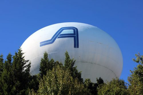 18-year old Potomac Mills water tank getting fresh coat of paint
