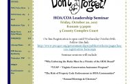 HOA/COA leadership seminar in Woodbridge, Oct. 20