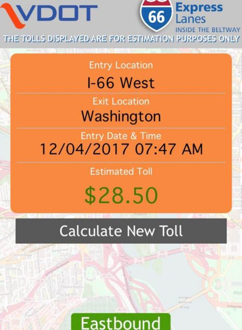 "I-66 ""inside the Beltway"" tolls began today, tolls rose up to $34"