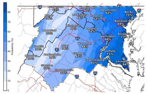 National Weather Services says 60-70% chance of snow tonight, tomorrow morning