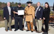 Sons of the American Revolution present flag certificate to Mission BBQ