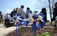 Community planting pinwheels for child abuse prevention