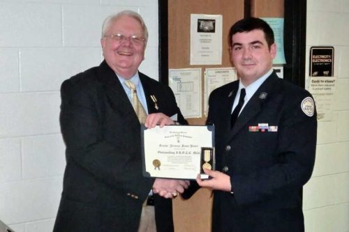 Sons of the American Revolution chapter presents Outstanding Cadet certificate
