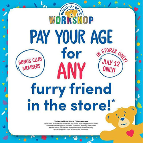 Build-A-Bear Workshop to host 'Pay Your Age Day,' July 12