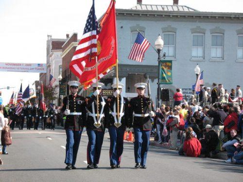 Veterans parade taking place in Manassas, Nov. 3