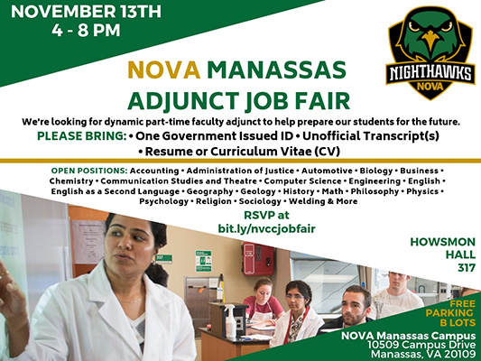 Nvcc Manassas Campus Map.Nova Manassas Adjunct Job Fair What S Up Prince William