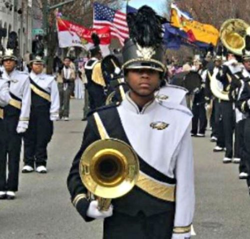 Freedom High School band performing in New York City