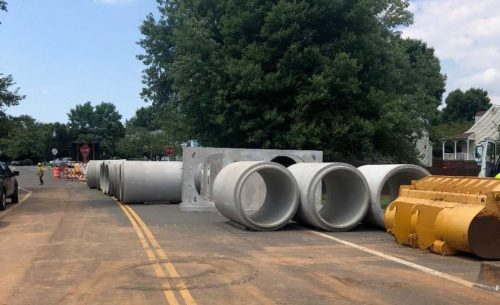 Pipe replacement underway after sinkhole appears