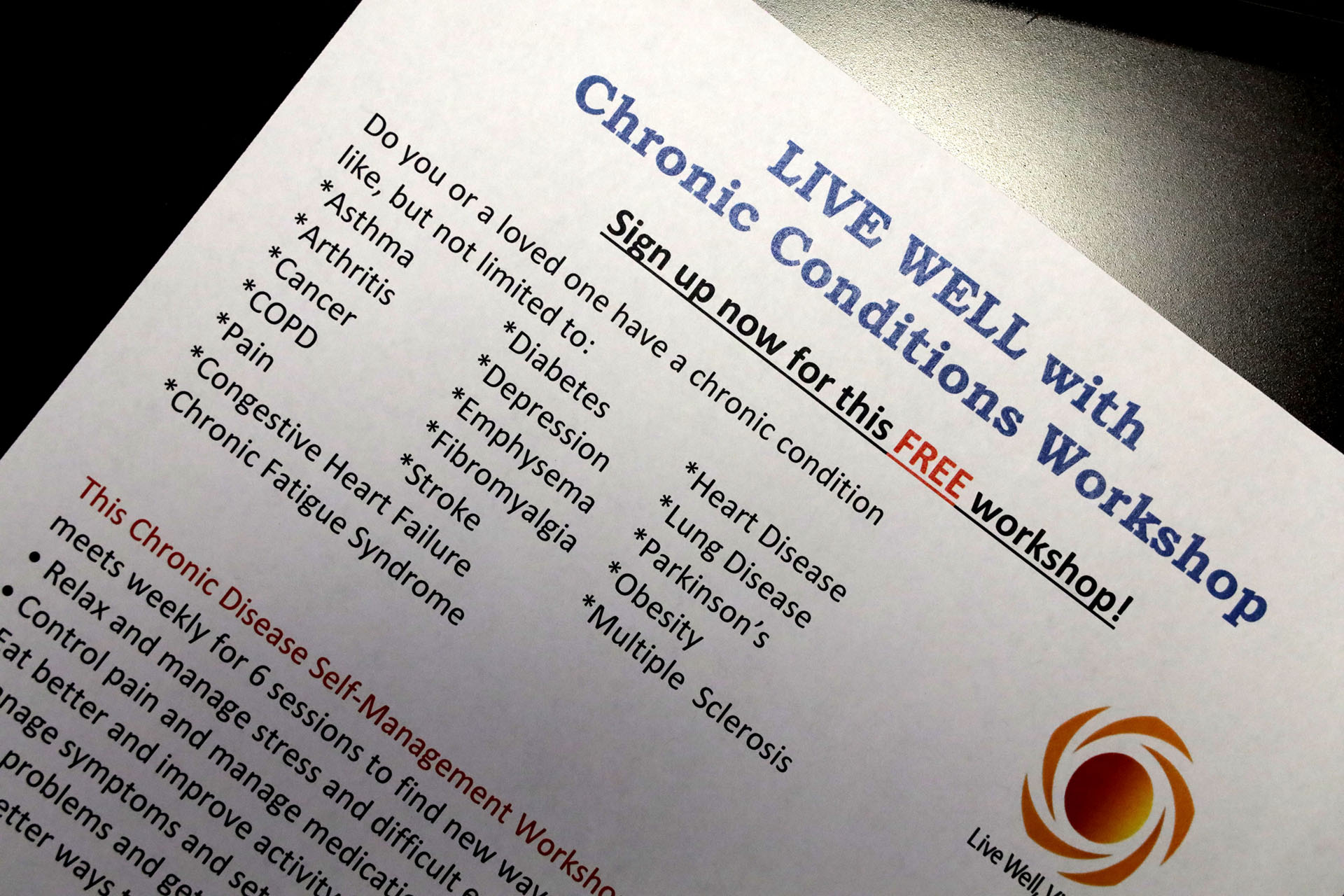 Workshop for individuals with chronic conditions scheduled