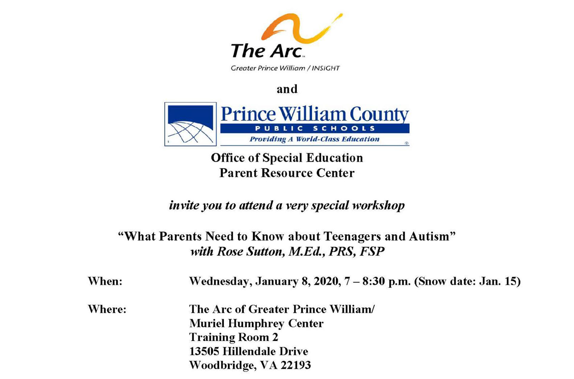 Workshop for parents of teenagers who have autism being held in Dale City