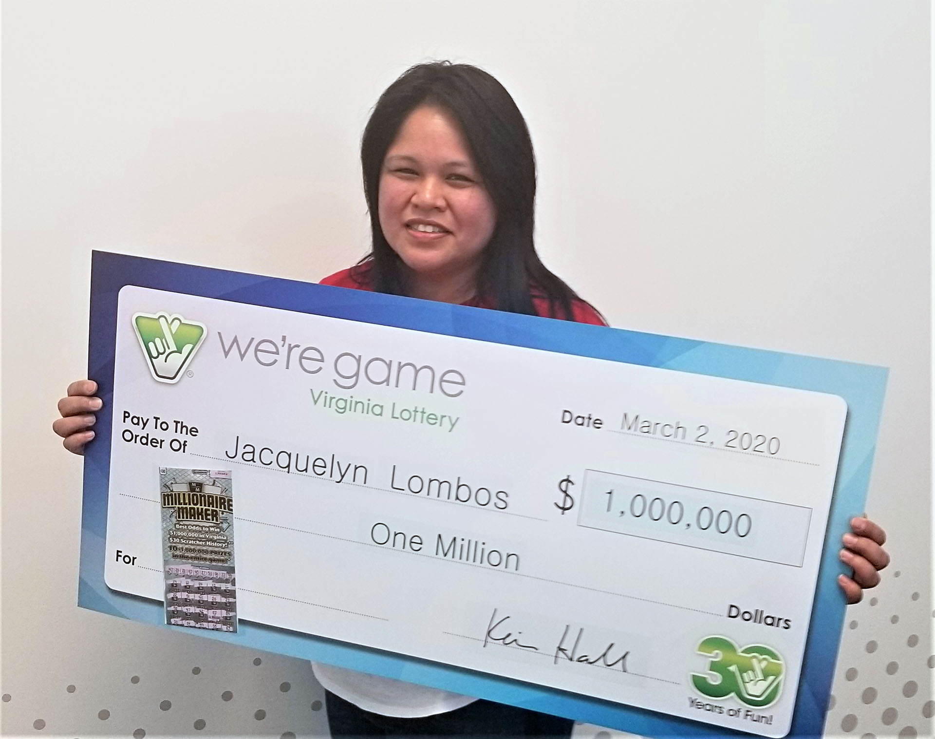 Woodbridge resident wins $1 million from Virginia Lottery