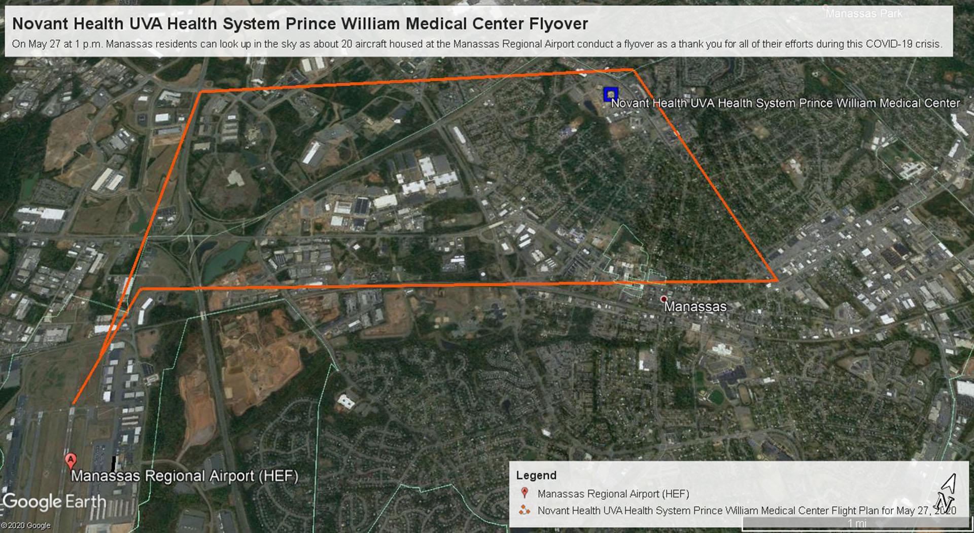 Flyover thanking hospital staff in Manassas